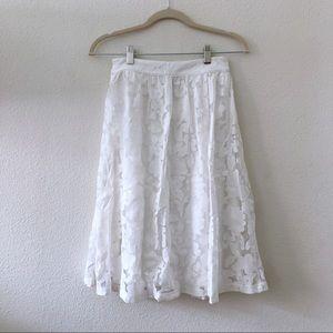 Forever 21 white midi floral lace midi skirt